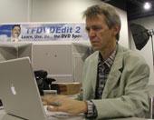 Professor Uli Plank getting ready for NAB 2004